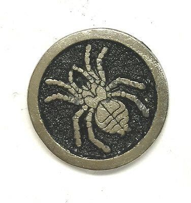 Vintage Sculpted Ominous Black Widow Spider Medallion P old metal pin