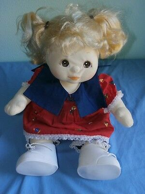 Vintage My Child Doll Blonde Brown Eyes Puppytails + Dress Bloomers Shoes Diaper