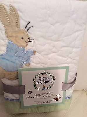 Pottery Barn Kids Peter Rabbit Small Nursery Crib Quilted Sham NWT Toddler