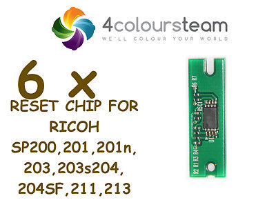 6x TONER RESET CHIP FOR RICOH SP 200 SP200 201 203 204 211 213 SP213W NW 407254