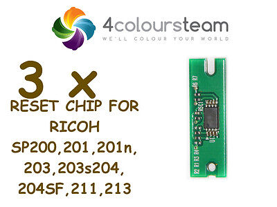 3x TONER RESET CHIP FOR RICOH SP 200 SP200 201 203 204 211 213 SP213W NW 407254