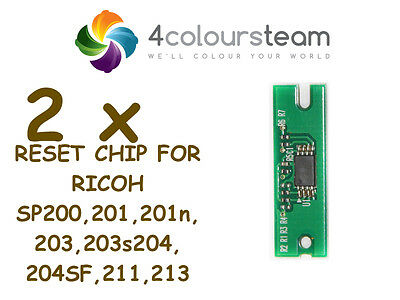 2x TONER RESET CHIP FOR RICOH SP 200 SP200 201 203 204 211 213 SP213W NW 407254
