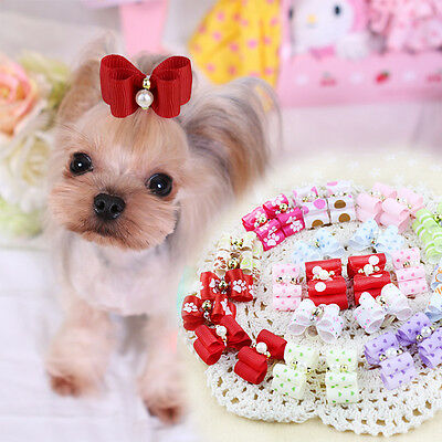 Funny 30PCS/set Pet Dog Headwear Rhinestone Hair Bow Grooming Rubber Head Bands