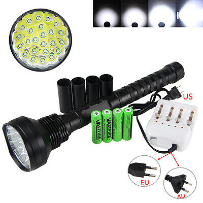 Power 40000LM 24x XML T6 LED Flashlight Torch Hunting Camping Lamp Light 5 Modes