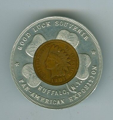 1901 AU Indian Encased Cent, 1901 Pan American Exposition Buffalo, New York