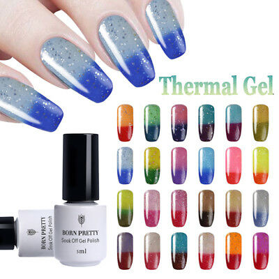 5ml BORN PRETTY Glitter Shimmer Temperature Color Changing UV Gel Polish Decor