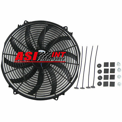 "12V 16"" Radiator Engine Bay Electric Cooling Thermo Fan & Mounting Kits"
