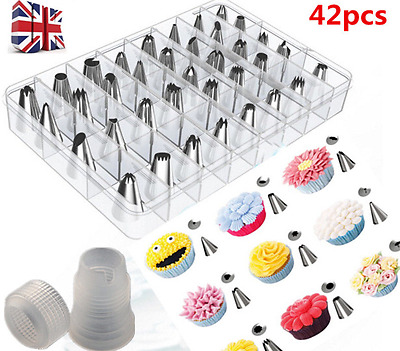 42 Pieces Cake Piping Icing Nozzles Tips Kit Set with Adapter Cookies Pastry UK
