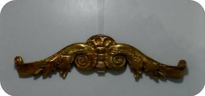 "Vintage Brushed Florentine Gold Scroll Wood Topper Pediment 24"" Long"
