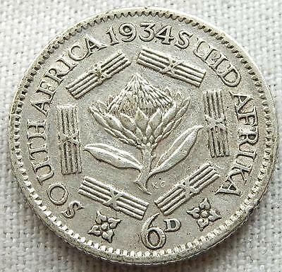 South Africa, 1934, Silver Six-Penny Coin