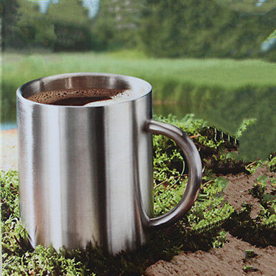 Wide 10,7oz Double Wall Polished Stainless Steel COFFEE CUP Beverage Hot Tea Mug
