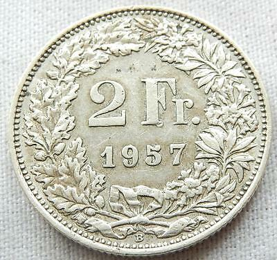 Switzerland, 1957, Silver Two Francs Coin.