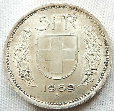 Switzerland, 1969, Silver Five Francs Coin.