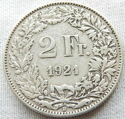 Switzerland, 1921, Silver Two Francs Coin.