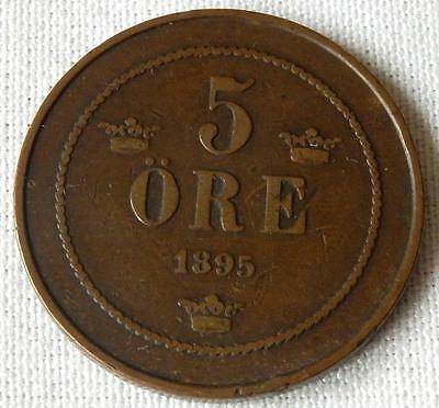 Norway, 1895, 5 Ore Coin.
