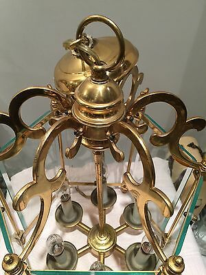 "Antique 1900 Old Heavy Brass 6 Panel Glass Parlor Chandelier 23"" H X 16"" W"