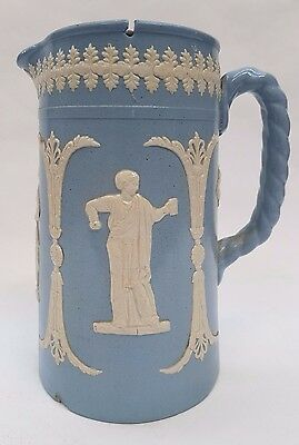 Antique, c.1880 - Dundas, England Ceramic Jug Pale Blue Wedgewood pattern
