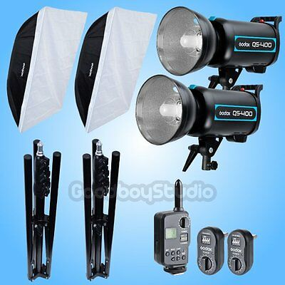 Godox 2X QS-400 800W Studio Flash Strobe + 185cm Stand + Softbox + FT-16 Kit