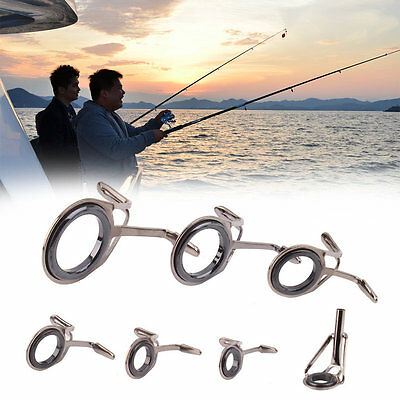 7 pcs Vintage Oval Fishing Tips Rod Guides Ring Stainless Pole Repair Kit YA
