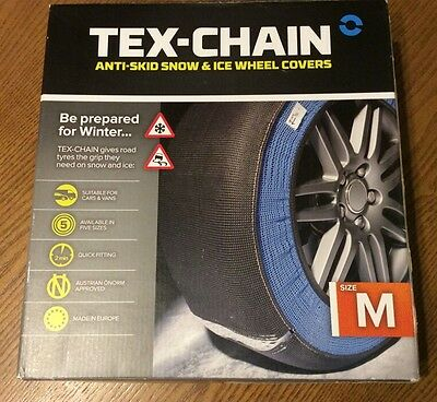 TEX-CHAIN Car Snow Socks Size : M -Quick & Easy To Fit Extra Grip On Snow & Ice