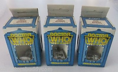 3 Vintage 1986 Doctor Who Miniatures 9508 Temporal Marauders Boxed By Rafm