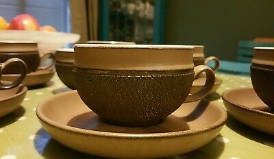 Retro Denby Cotswold cups and saucers x 6 plus sugar bowl