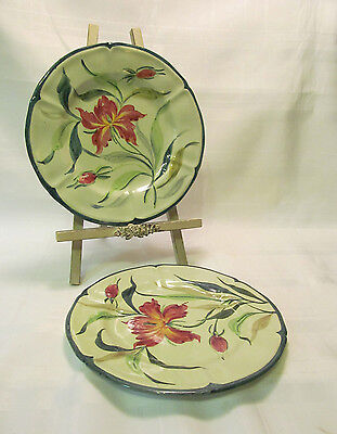 AMALFI Italy Vintage Hand Painted 2 Salad/Dessert Plates Lovely Green Red Floral