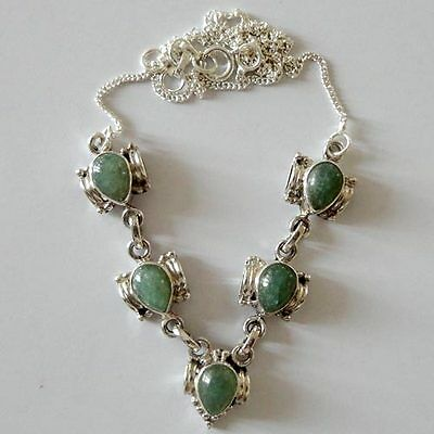 India 925 Sterling Silver Necklace 19''Aventurine Natural Gemstone Jewellery9771