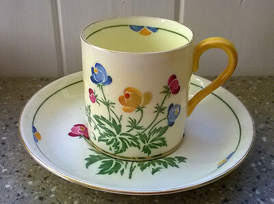 Vintage Crown Staffordshire Pretty Cup & Saucer Coffee Can Floral design