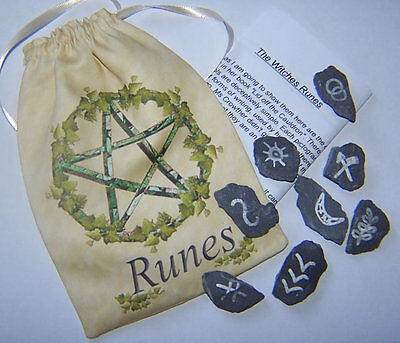 Witches Runes & Pentacle Rune Bag, With instruction on how to use and read Runes