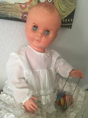 Vintage Doll Mounded Hair Vintage Rattle And Dress Made In England