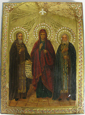 c1900 ANTIQUE RUSSIAN ORTHODOX ART ICON THREE SAINTS SERAPHIM SERGIUS PARASKEVI