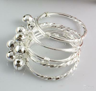 Babys Silver Twisted Stem  Bangle With Bells