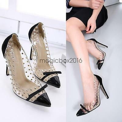 Ladies Clear Transparent Studs Pointy Toe Bowtie Stiletto High Heel Pumps Shoes