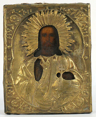 c1900 ANTIQUE RUSSIAN ORTHODOX ICON JESUS CHRIST THE SAVIOR IN BRASS OKLAD COVER