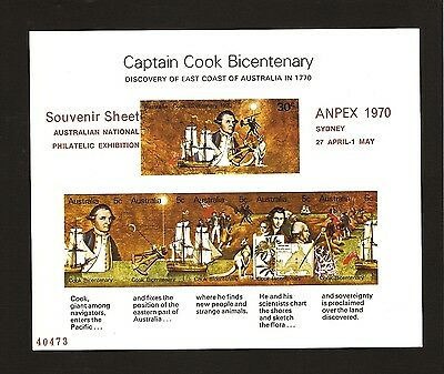 1970 *MNH* Captain Cook Bicentenary **IMPERFORATE MINISHEET**  ANPEX Overprint!
