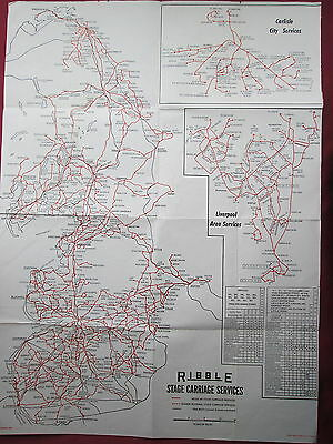 Double sided Poster of Ribble Stage Carriage Services 1963 folded
