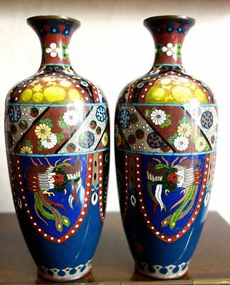 Pair Of Edwardian Period Cloisonne Vases - Beautifully Decorated