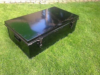 Metal Deed Box Coffee Table Storage Trunk Victorian Antique