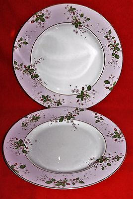"WEDGWOOD ~ WILD STRAWBERRY BLOOM (PINK)  ~ 10.8"" DINNER PLATES x 2"
