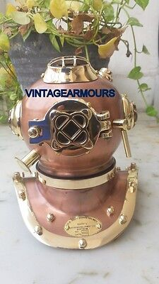 Copper Antique Mini Diving Divers Helmet Full BrassU.S Navy Mark IV Size 6 inch