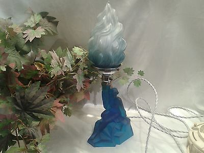 Rare Exquisite Art Deco Walther Sohne Blue Satin Glass Lamp Rewired