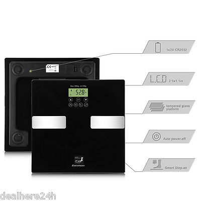 180Kg Digital Scale Lcd Bathroom Scale Weighing Body Fat Bmi Electronic Glass Uk