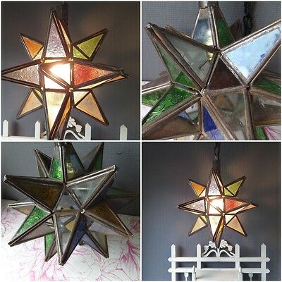 French Antic Ceiling Lantern Star  Lamp Stained Glass Bohemian / Cottage chic