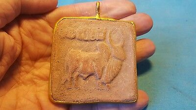 large ancient Indus valley decorated Bull  pendant  2000BC