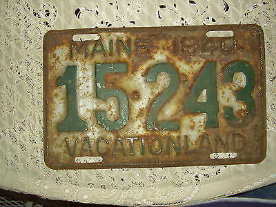 1940 Maine  License Plate Tag 15 243