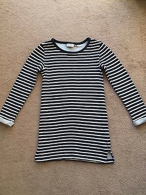 Next Girls knitted navy striped dress Age 9 - perfect conditon