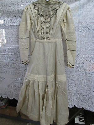 Antique Late 1800's Cream Colored Victorian Style Dress
