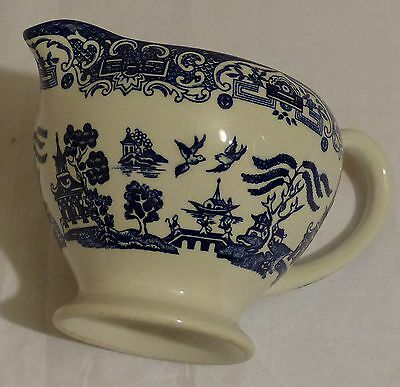 Old Willow ironstone blue and white milk jug
