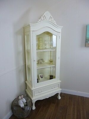 French Shabby Chic One Door Display Cabinet In Cream